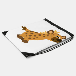 Cute Walking Cartoon Hyena Drawstring Backpack