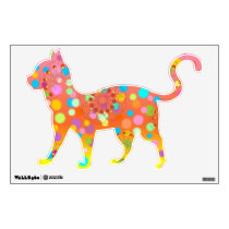 Cute Walking Cat with Colorful Dots & Flowers Wall Decal