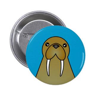 Cute Walrus Cartoon Pinback Button