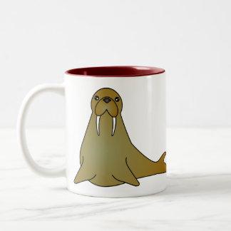 Cute Walrus Cartoon Two-Tone Coffee Mug