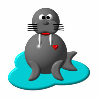Cute walrus in water cutout