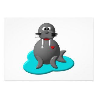 Cute walrus in water invitation