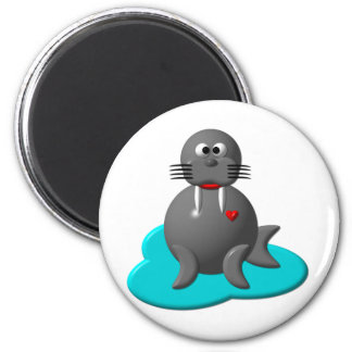 Cute walrus in water magnet