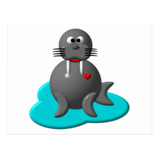 Cute walrus in water post cards