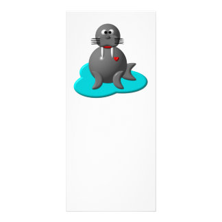 Cute walrus in water rack card