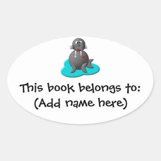 Cute walrus in water oval sticker