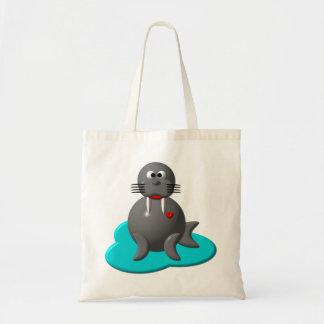 Cute walrus in water tote bag
