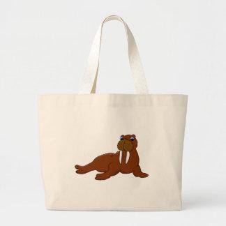Cute walrus large tote bag
