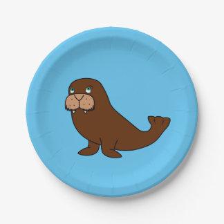 Cute Walrus Paper Plate