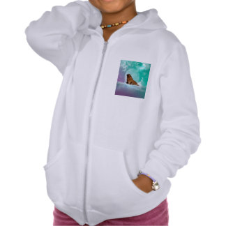 Cute walrus with water splash hooded pullover