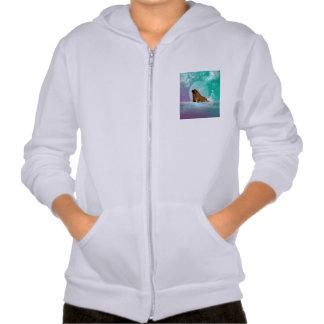 Cute walrus with water splash hooded sweatshirt
