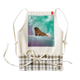 Cute walrus with water splash zazzle HEART apron