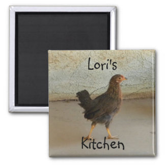 Cute wandering chicken 2 inch square magnet