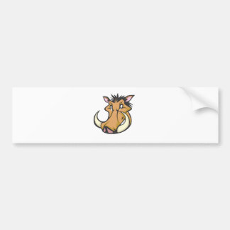 Cute Warthog Cartoon Shirt Car Bumper Sticker