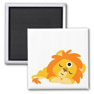 Cute Watchful Cartoon Lion magnet magnet