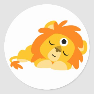 Cute Watchful Cartoon Lion sticker sticker