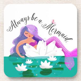 Cute Water Lily Mermaid Coaster Set