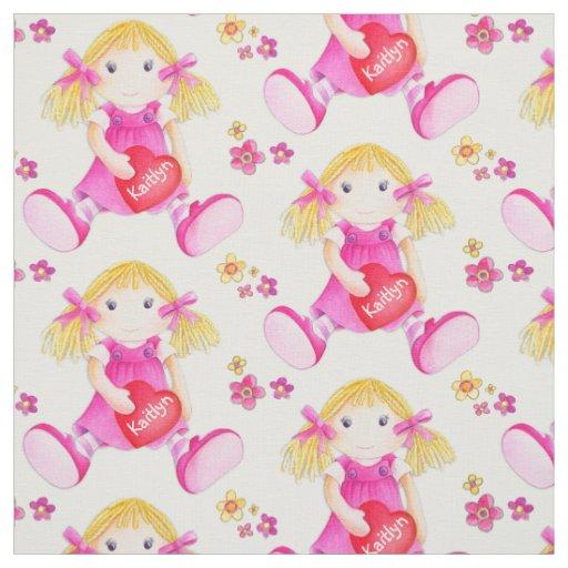 Cute watercolor art rag doll repeat pattern fabric