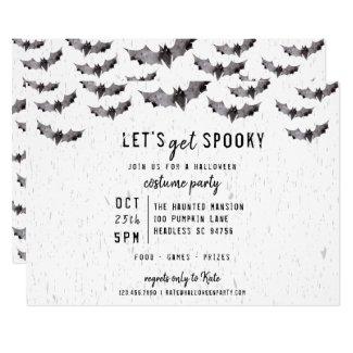 Cute Watercolor Bats Spooky Halloween Invitation