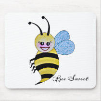Cute Watercolor Bee With Happy Smile Mouse Pad