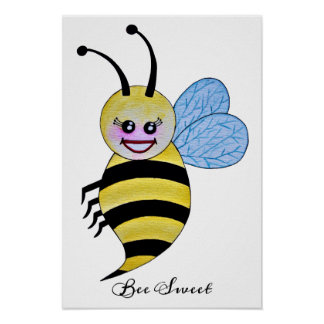 Cute Watercolor Bee With Happy Smile Poster