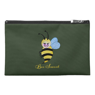 Cute Watercolor Bee With Happy Smile Travel Accessory Bag