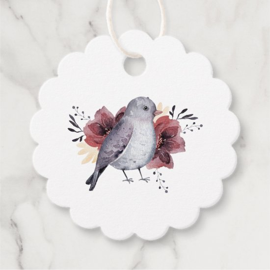Cute Watercolor Bird and Flower Birthday Favor Tags