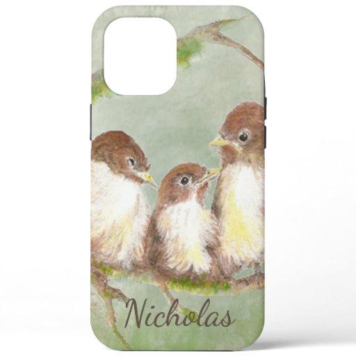 Cute Watercolor Bird Family Art Custom Name  iPhone 12 Pro Max Case