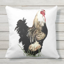 Cute Watercolor Black & White Rooster Chicken Bird Outdoor Pillow
