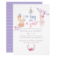 Cute Watercolor Boho Tribal Gender Reveal Party Card