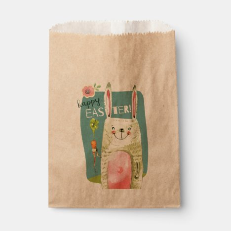 Cute watercolor bunny holding carrot Happy Easter Favor Bag