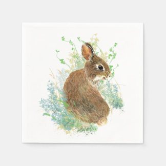 Cute Watercolor Bunny Rabbit Animal Art Paper Napkin