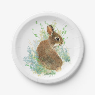 Cute Watercolor Bunny Rabbit Animal Art Paper Plate