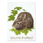 """Cute Watercolor Bunny Rabbit Birthday Party Invite 5"""" X 7"""" Invitation Card"""