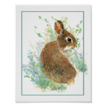Cute Watercolor Bunny Rabbit Farm Animal Poster