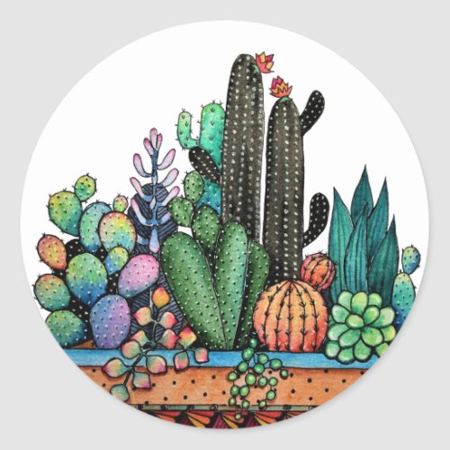 Cute Watercolor Cactus Garden In Pot Classic Round Sticker