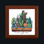 "Cute Watercolor Cactus Garden In Pot Gift Box<br><div class=""desc"">Cute watercolor cactus garden in beautiful pot. Designed for anyone who loves cacti and succulents. Can be a perfect gift. Customize it easily with different background   color,  words or just enjoy as it is. Please check the collection for matching items. :)</div>"