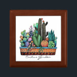 """Cute Watercolor Cactus Garden In Pot Gift Box<br><div class=""""desc"""">Cute watercolor cactus garden in beautiful pot. Designed for anyone who loves cacti and succulents. Can be a perfect gift. Customize it easily with different background   color,  words or just enjoy as it is. Please check the collection for matching items. :)</div>"""