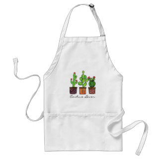 Cute Watercolor Cactus In Pots Adult Apron