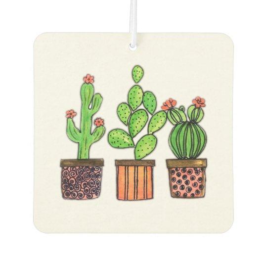 Cute Watercolor Cactus In Pots Air Freshener Zazzlecom