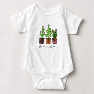Cute Watercolor Cactus In Pots Baby Bodysuit