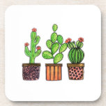 "Cute Watercolor Cactus In Pots Beverage Coaster<br><div class=""desc"">Cute watercolor cactus in pots. Designed for cactus lovers. Customize it with different background color or just enjoy as it is. :)</div>"