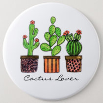 Cute Watercolor Cactus In Pots Button