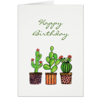 Cute Watercolor Cactus in pots Card