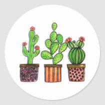 Cute Watercolor Cactus In Pots Classic Round Sticker