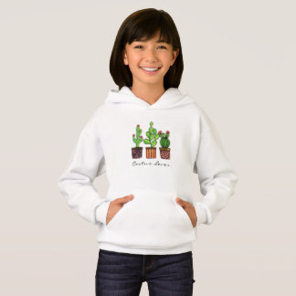 Cute Watercolor Cactus In Pots Hoodie