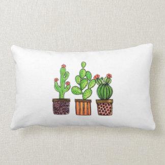Cute Watercolor Cactus In Pots Lumbar Pillow