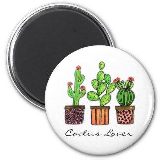 Cute Watercolor Cactus In Pots Magnet
