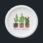 "Cute Watercolor Cactus In Pots Paper Plate<br><div class=""desc"">Cute watercolor cactus in pots. Designed for cactus lovers. Customize it with different background color or just enjoy as it is. :)</div>"