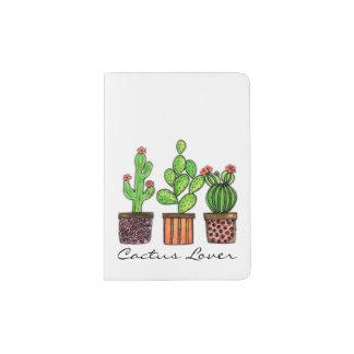 Cute Watercolor Cactus In Pots Passport Holder